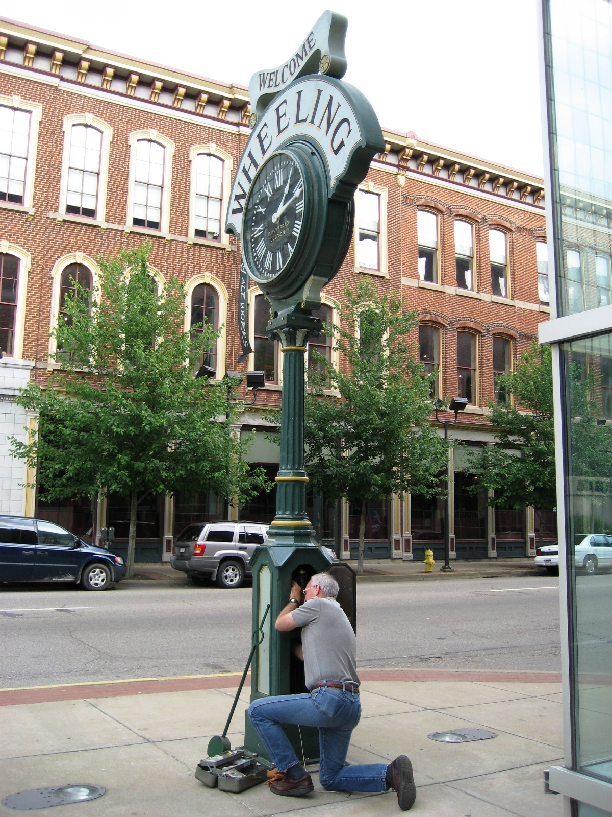 The Hancher Clock was a downtown Wheeling icon for many years; it now resides on Main Street at the Convention and Visitor's Bureau. (Photo credit: Jeremy S. Morris)