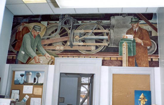 Mural for the new Marion Post Office, painted by Dan Rhodes