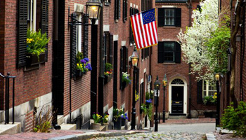 Street scene in Historic Beacon Hill District, Boston, Massachusetts. Photo from Fotolia.com