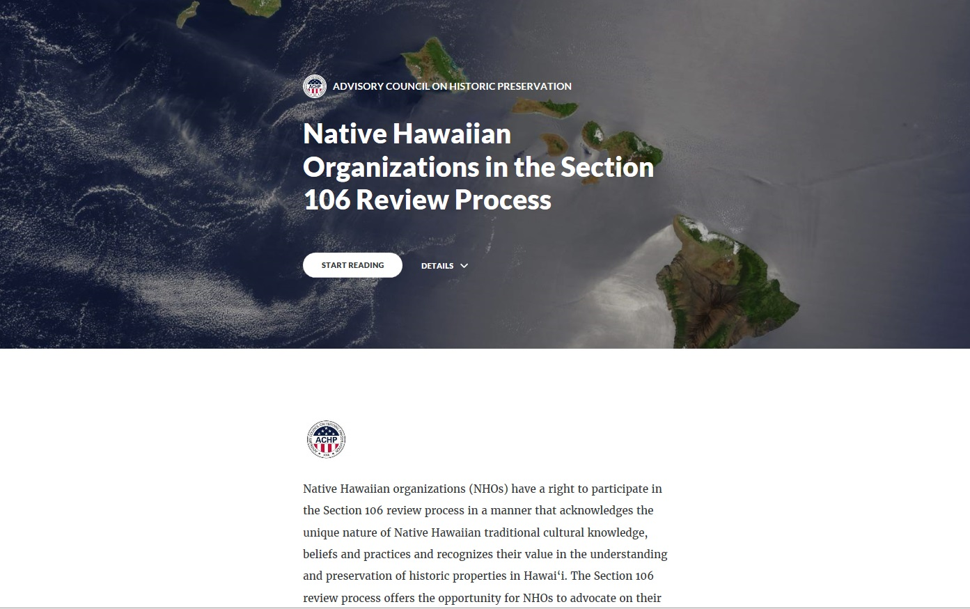 Native Hawaiian Organizations in the Section 106 Process