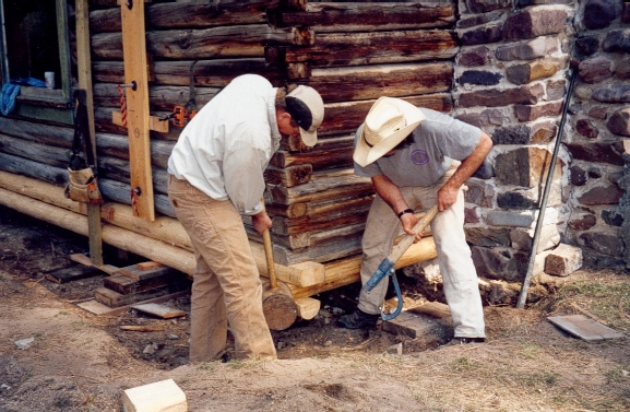 PIT volunteers nudge new sill logs into place under the historic Morgan Case homestead cabin on the Lolo National Forest in Montana.