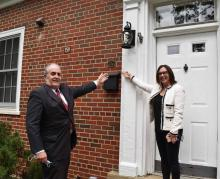 Hon. Alex Beehler, Assistant Secretary of the Army for Installations, Energy, and Environment and ACHP Chairman Aimee Jorjani at an Inter-War Era home on Fort Belvoir, Virginia