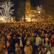 Residents celebrate the annual Lighting of the Square event in the Woodstock Square Historic District, where the 1993 movie, Groundhog Day, was filmed.