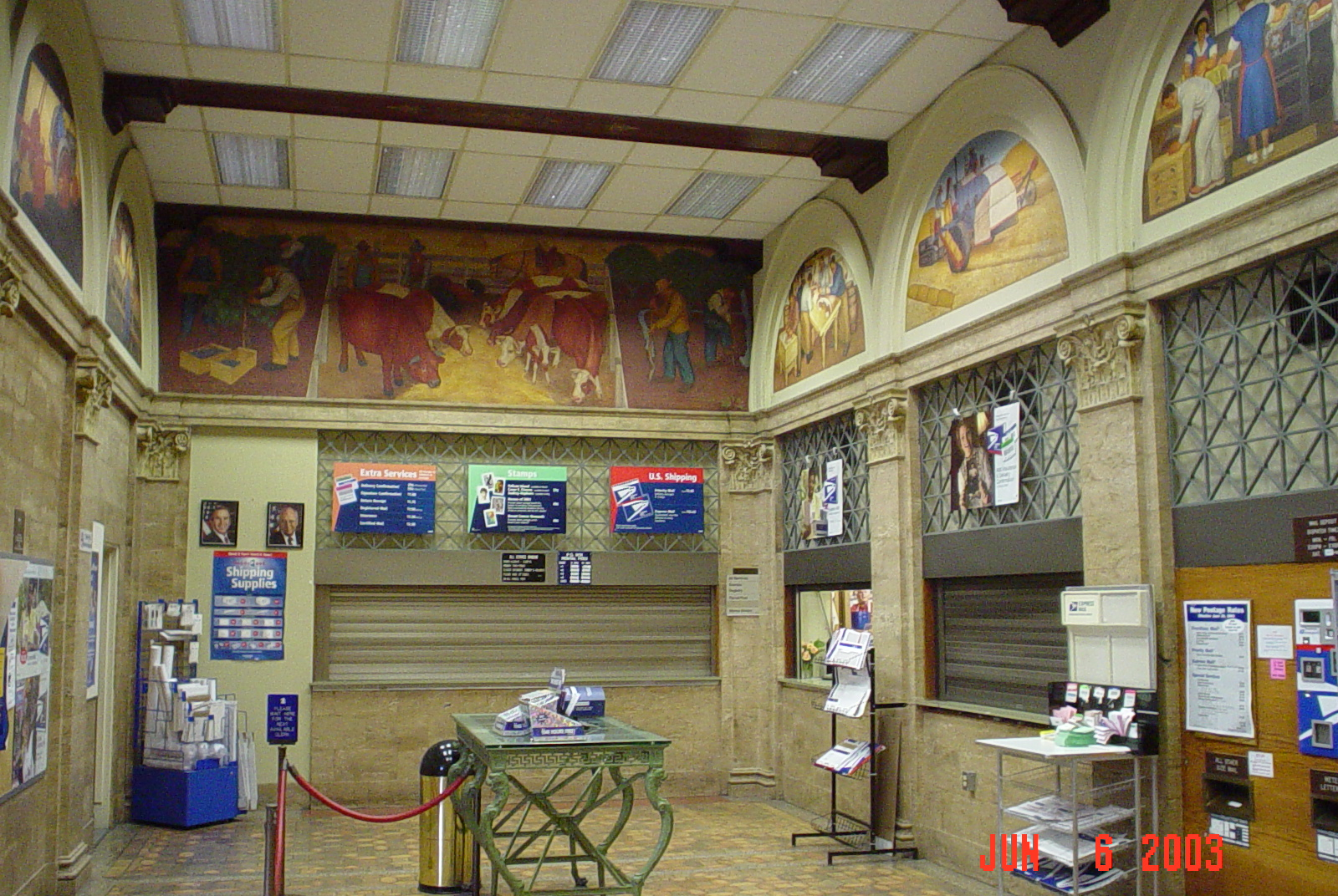 post office lobby with murals
